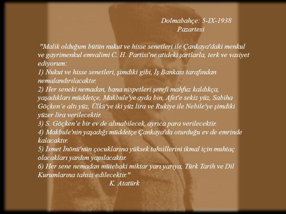 . Dolmabahçe: 5-IX-1938 Pazartesi.