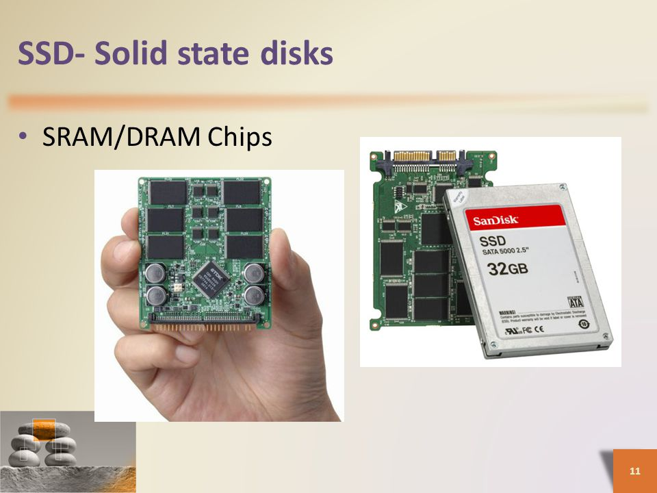 SSD- Solid state disks SRAM/DRAM Chips