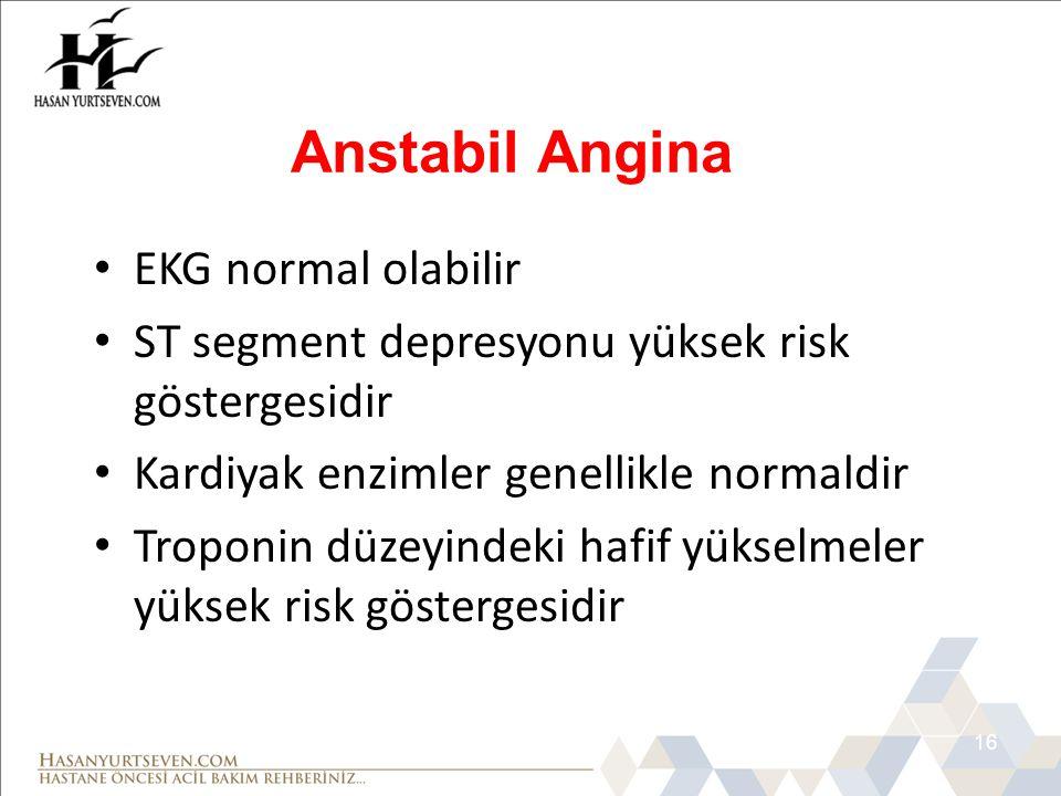 Anstabil Angina EKG normal olabilir