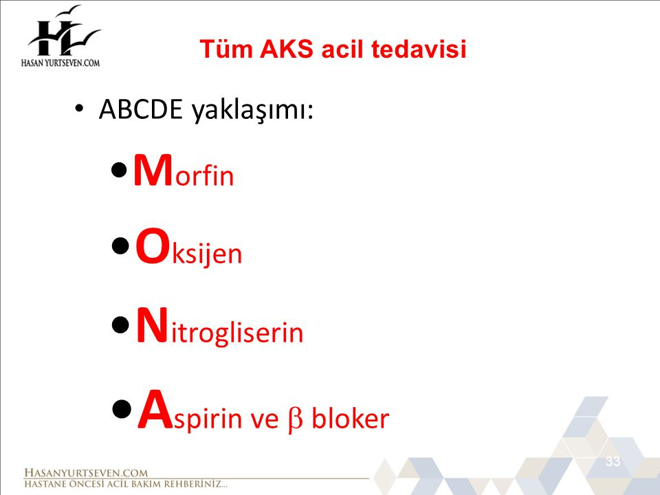Aspirin ve  bloker Oksijen Nitrogliserin Morfin ABCDE yaklaşımı: