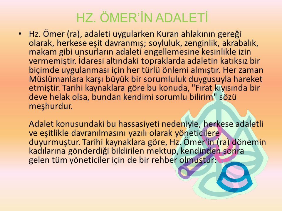 HZ. ÖMER'İN ADALETİ