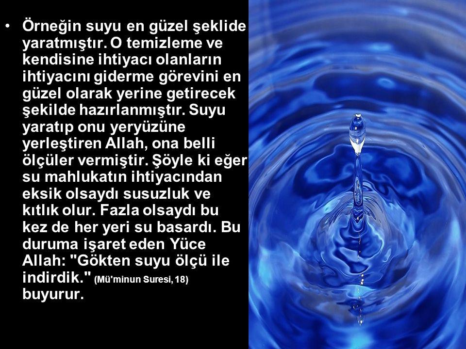 Örneğin suyu en güzel şeklide yaratmıştır