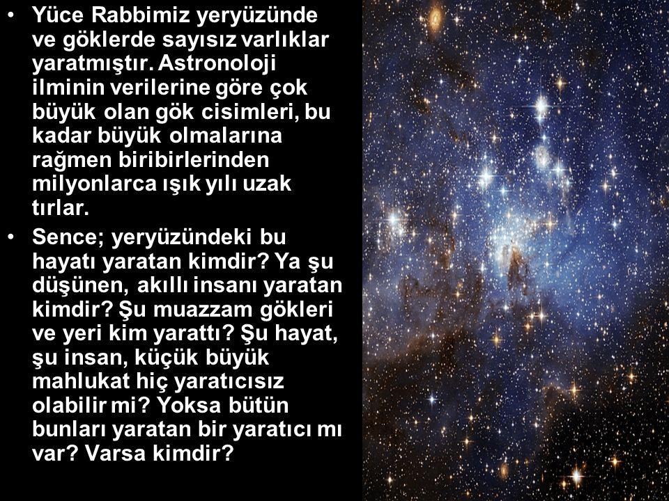Yüce Rabbimiz yeryüzünde ve göklerde sayısız varlıklar yaratmıştır