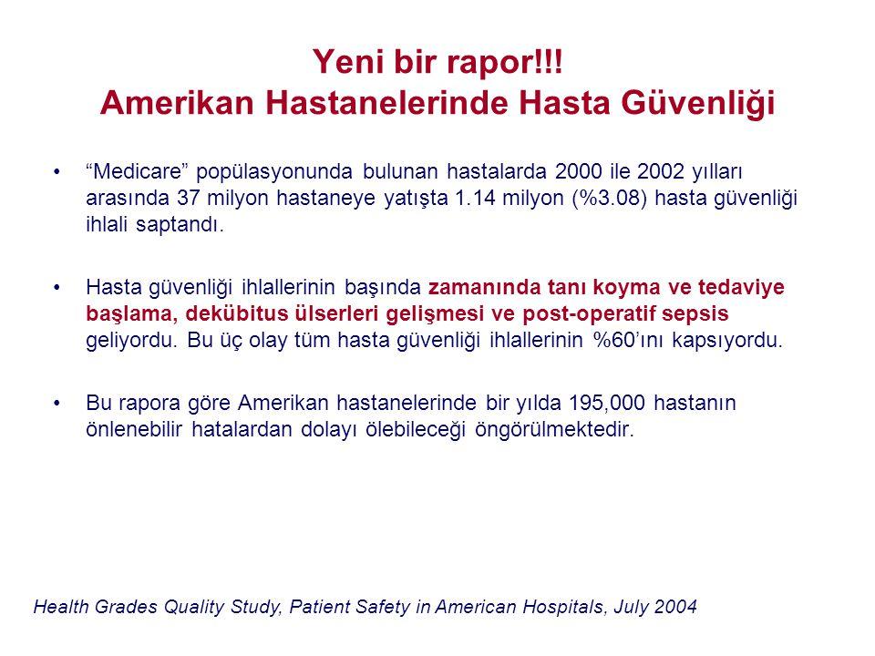 Yeni bir rapor!!! Amerikan Hastanelerinde Hasta Güvenliği