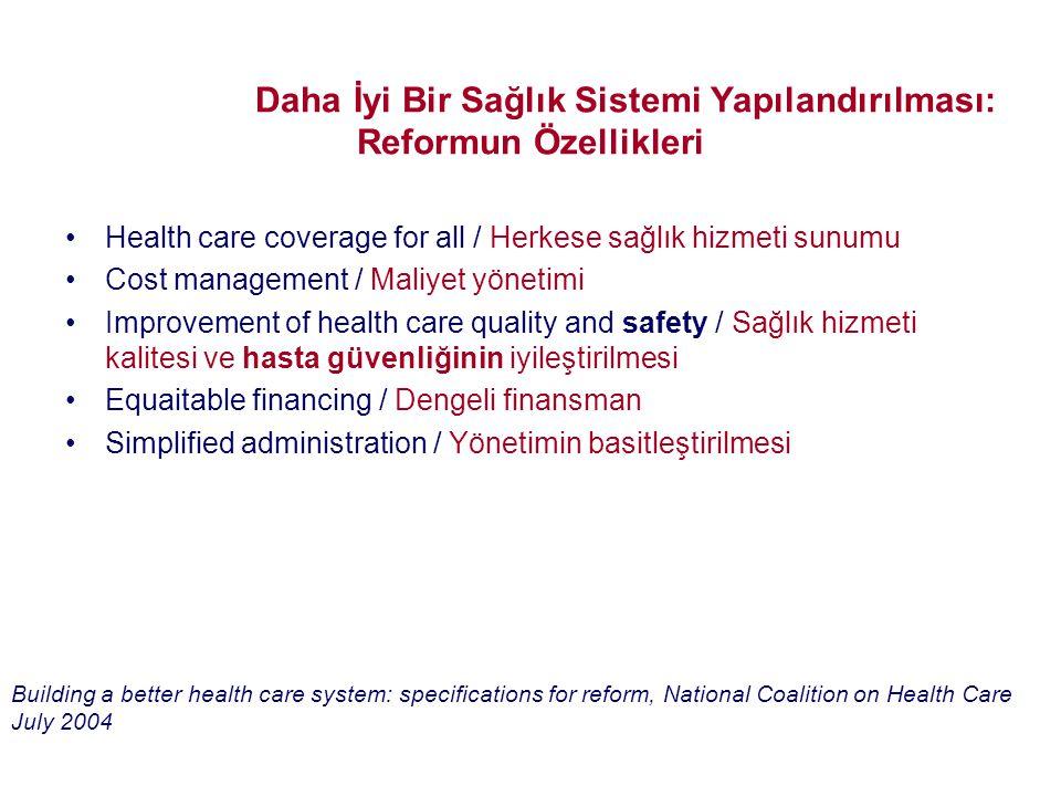 Building a Better Health Care System: Specifications for Reform/Daha İyi Bir Sağlık Sistemi Yapılandırılması: Reformun Özellikleri
