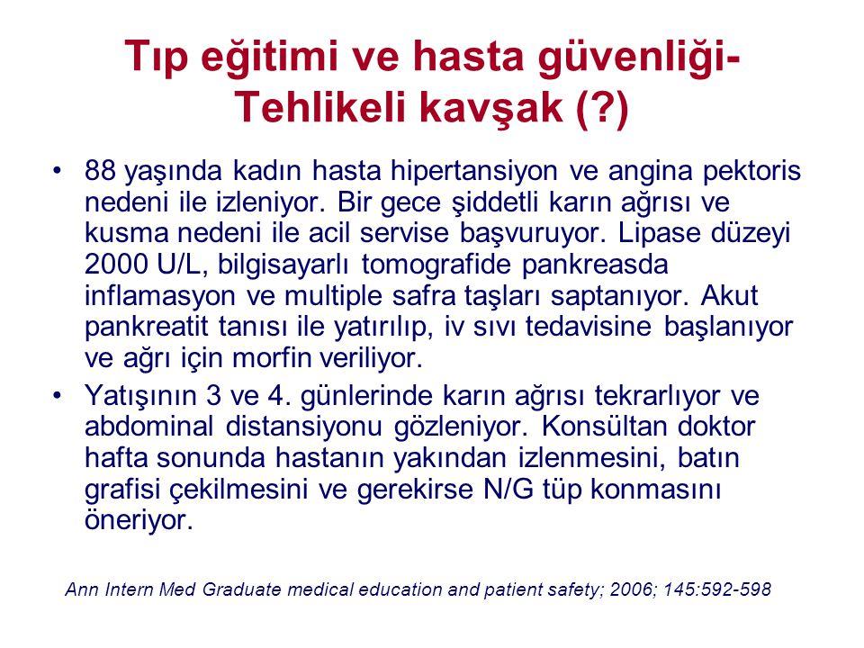 Tıp eğitimi ve hasta güvenliği-Tehlikeli kavşak ( )