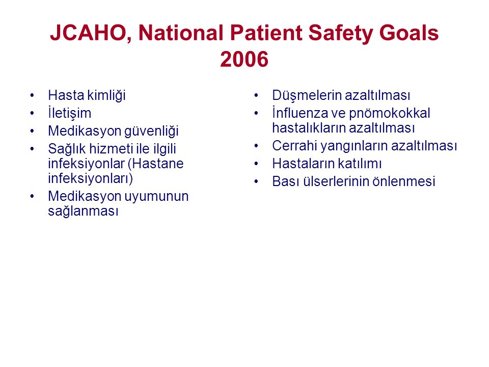 JCAHO, National Patient Safety Goals 2006