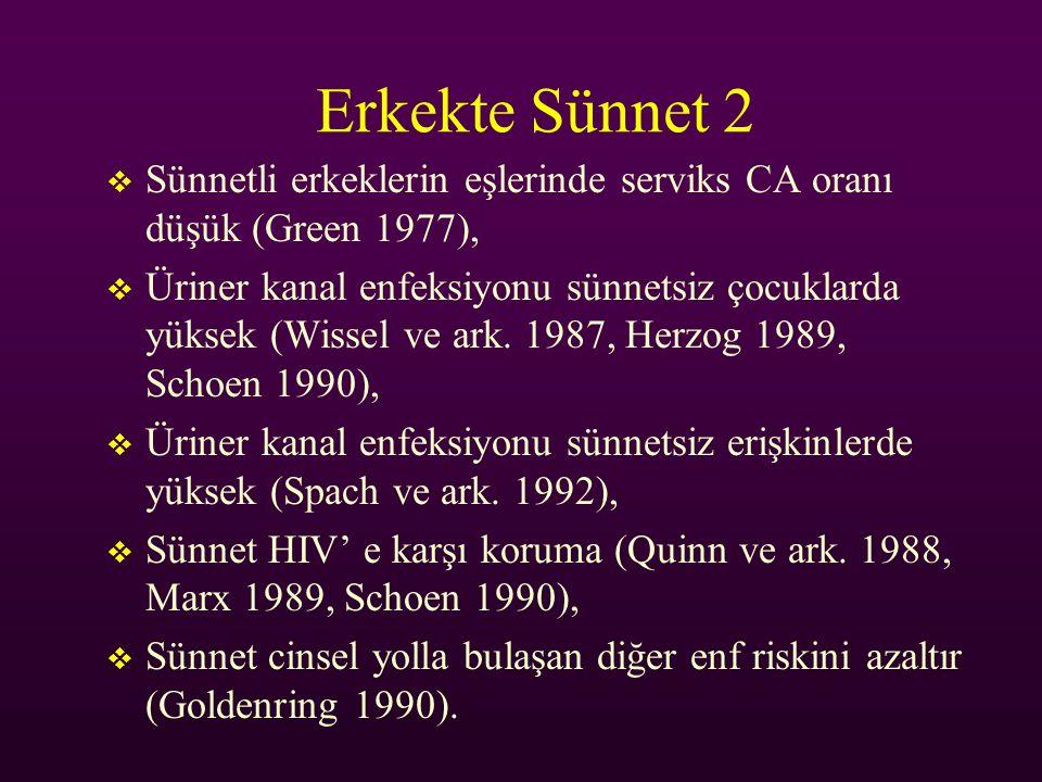 Erkekte Sünnet 2 Sünnetli erkeklerin eşlerinde serviks CA oranı düşük (Green 1977),
