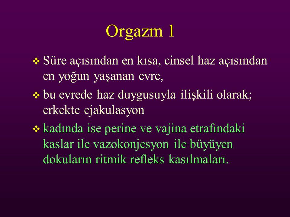 Orgazm 1 Süre açısından en kısa, cinsel haz açısından en yoğun yaşanan evre, bu evrede haz duygusuyla ilişkili olarak; erkekte ejakulasyon.