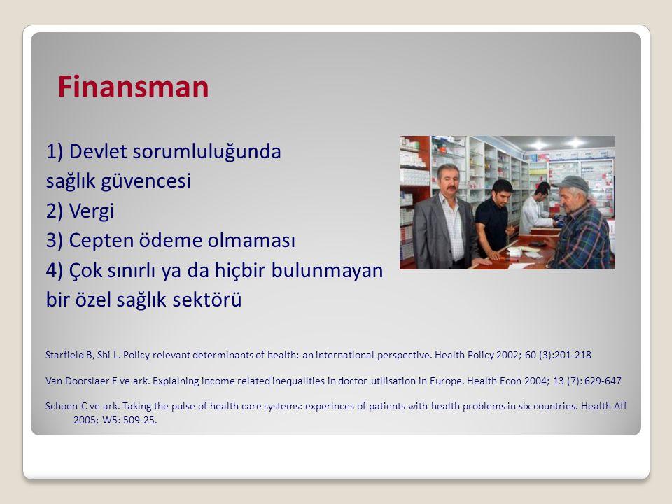 Finansman 1) Devlet sorumluluğunda sağlık güvencesi 2) Vergi