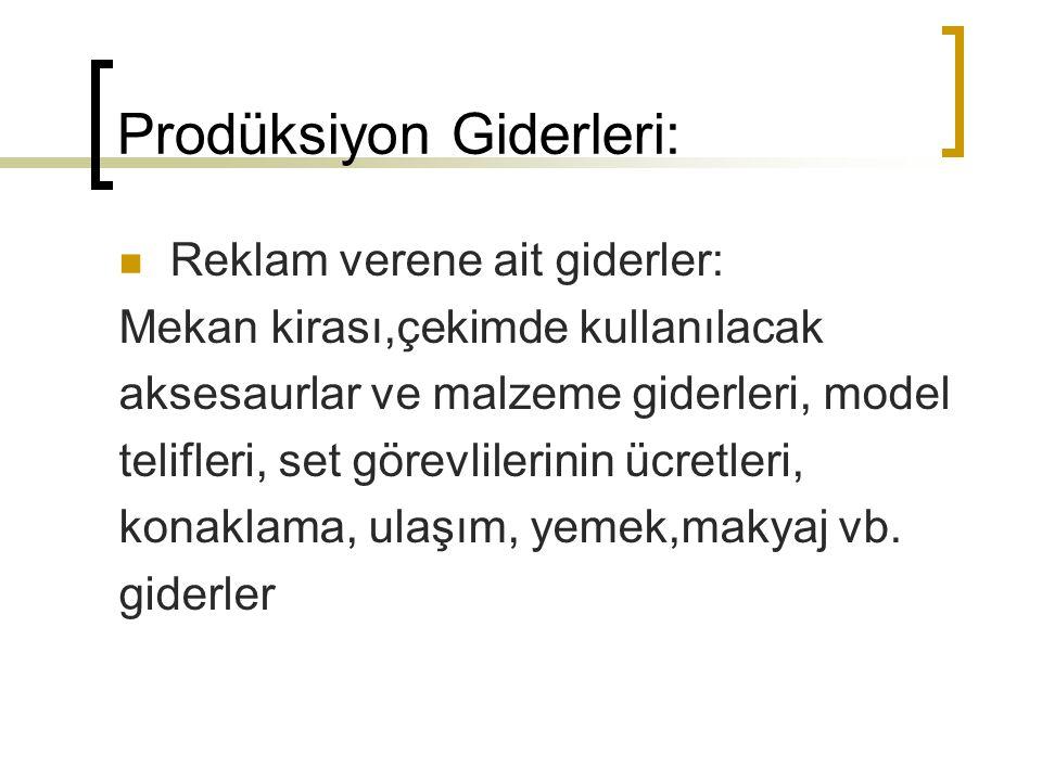 Prodüksiyon Giderleri: