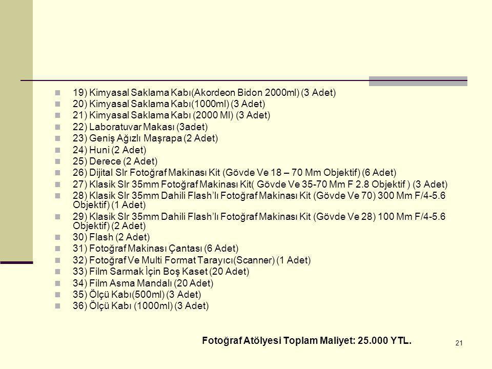 19) Kimyasal Saklama Kabı(Akordeon Bidon 2000ml) (3 Adet)