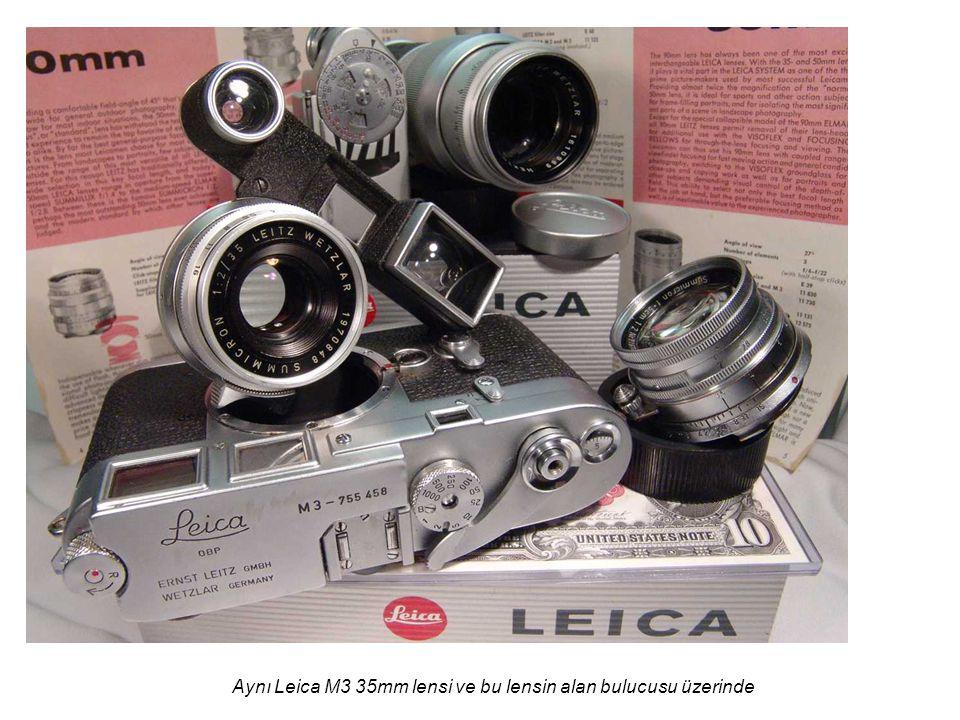 Aynı Leica M3 35mm lensi ve bu lensin alan bulucusu üzerinde