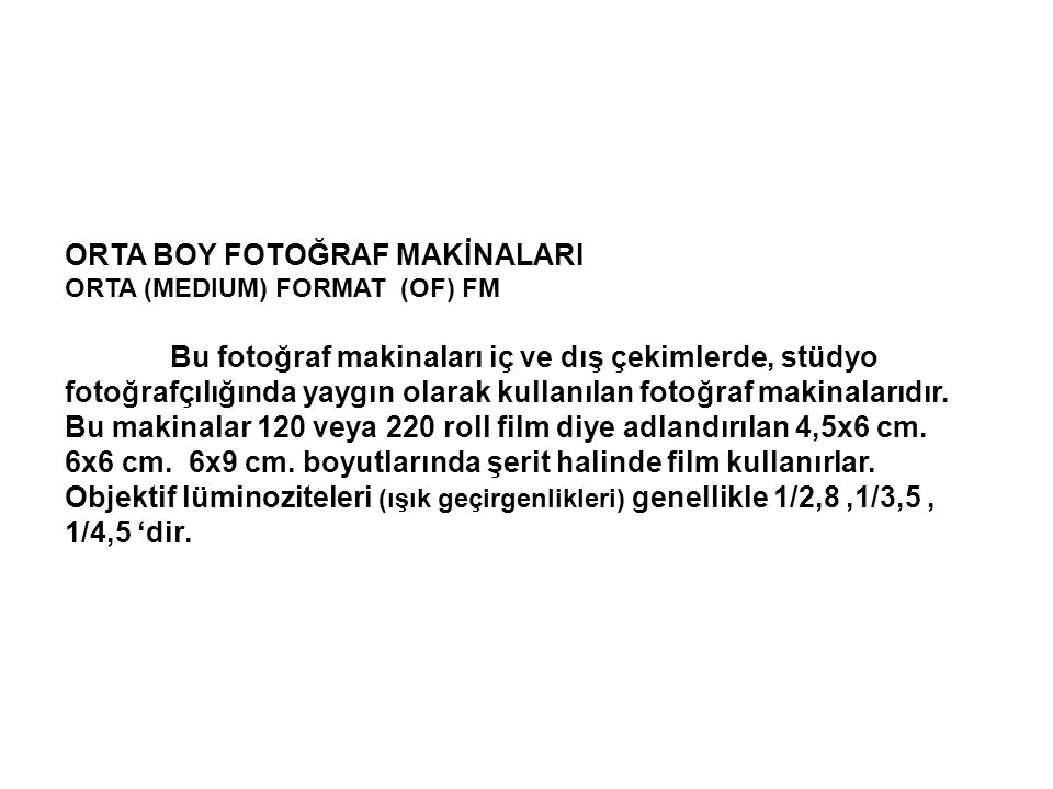 ORTA BOY FOTOĞRAF MAKİNALARI