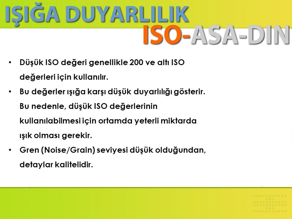 Düşük ISO değeri genellikle 200 ve altı ISO değerleri için kullanılır.