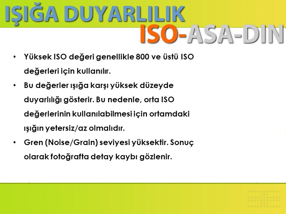 Yüksek ISO değeri genellikle 800 ve üstü ISO değerleri için kullanılır.