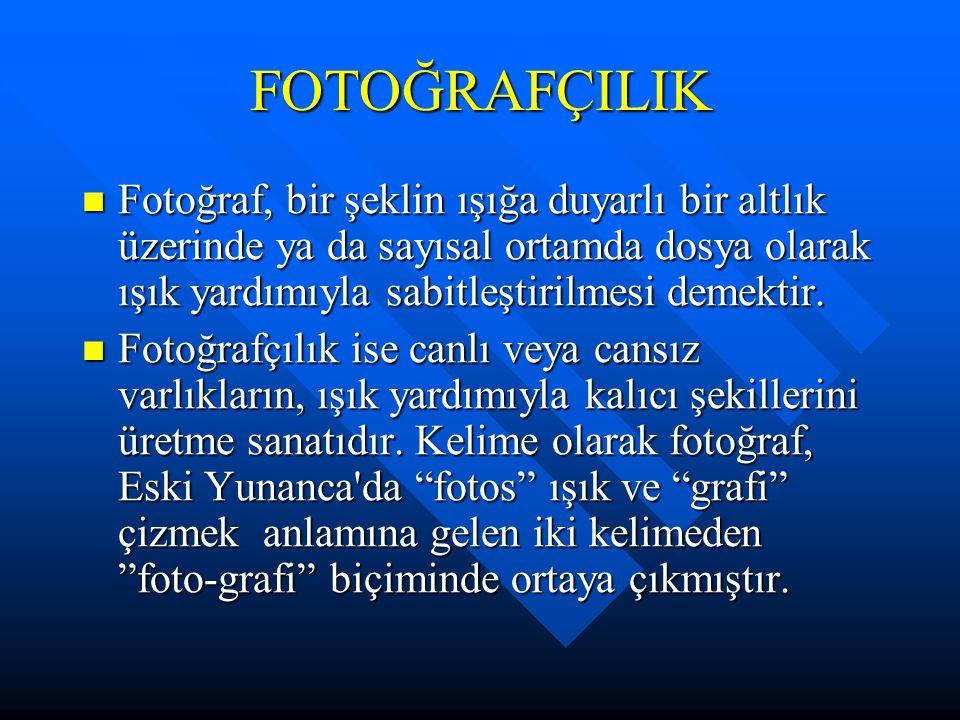 FOTOĞRAFÇILIK Fotoğraf, bir şeklin ışığa duyarlı bir altlık üzerinde ya da sayısal ortamda dosya olarak ışık yardımıyla sabitleştirilmesi demektir.