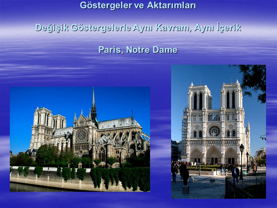 Göstergeler ve Aktarımları Değişik Göstergelerle Aynı Kavram, Aynı İçerik Paris, Notre Dame