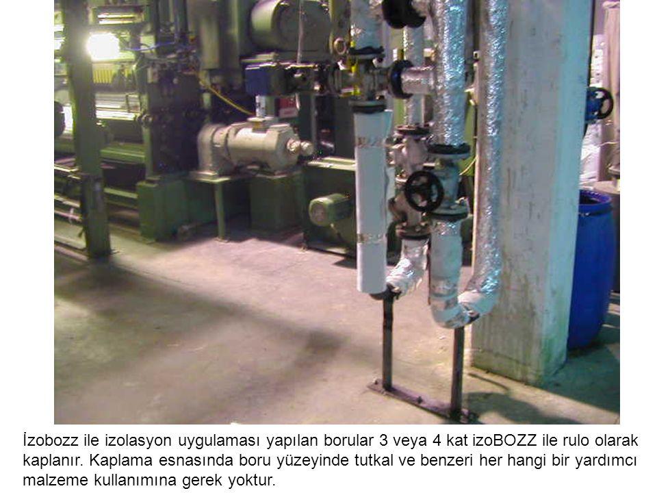 İzobozz ile izolasyon uygulaması yapılan borular 3 veya 4 kat izoBOZZ ile rulo olarak