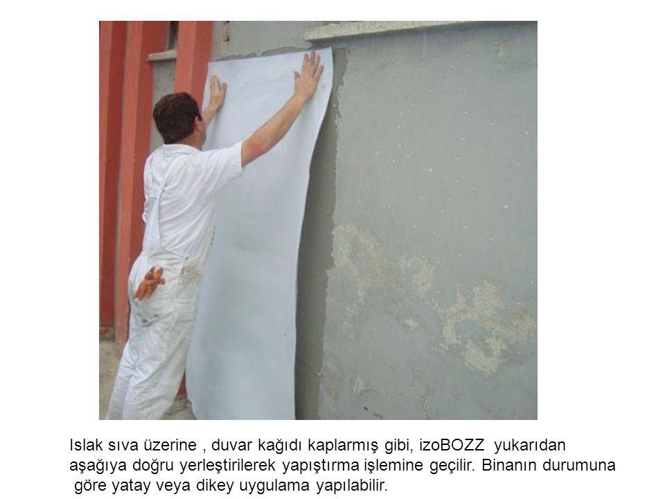 Islak sıva üzerine , duvar kağıdı kaplarmış gibi, izoBOZZ yukarıdan