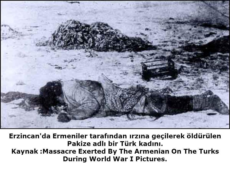 Erzincan da Ermeniler tarafından ırzına geçilerek öldürülen Pakize adlı bir Türk kadını.