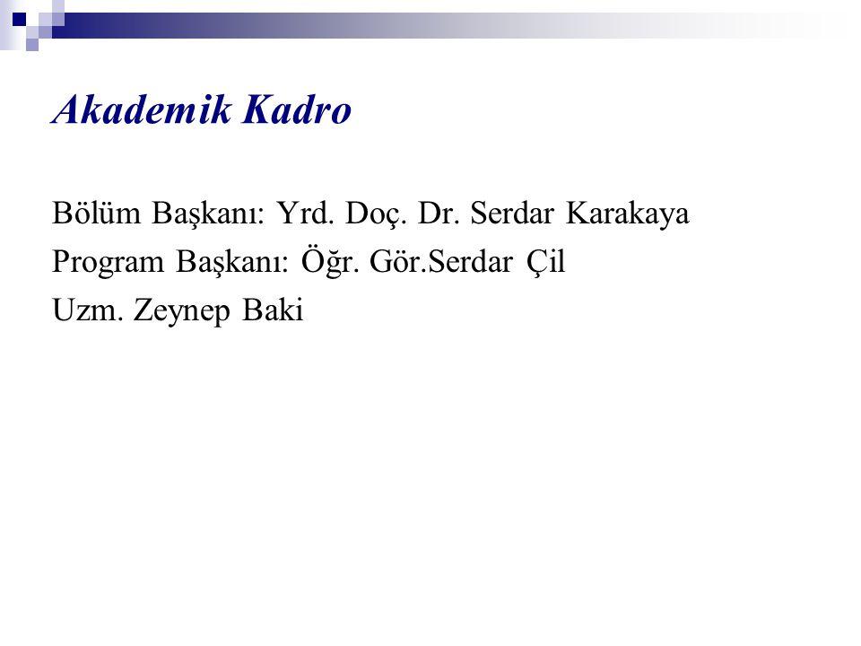Akademik Kadro Bölüm Başkanı: Yrd. Doç. Dr. Serdar Karakaya