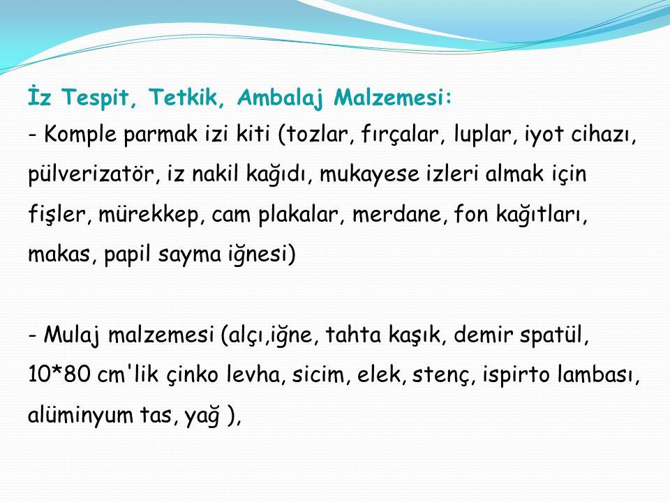 İz Tespit, Tetkik, Ambalaj Malzemesi:
