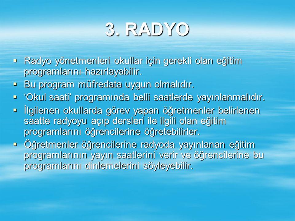 3. RADYO Radyo yönetmenleri okullar için gerekli olan eğitim programlarını hazırlayabilir. Bu program müfredata uygun olmalıdır.
