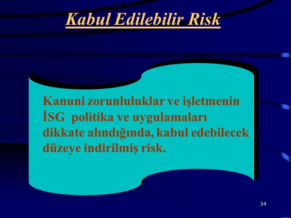 Kabul Edilebilir Risk Kanuni zorunluluklar ve işletmenin İSG politika ve uygulamaları dikkate alındığında, kabul edebilecek düzeye indirilmiş risk.