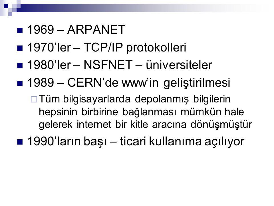 1970'ler – TCP/IP protokolleri 1980'ler – NSFNET – üniversiteler
