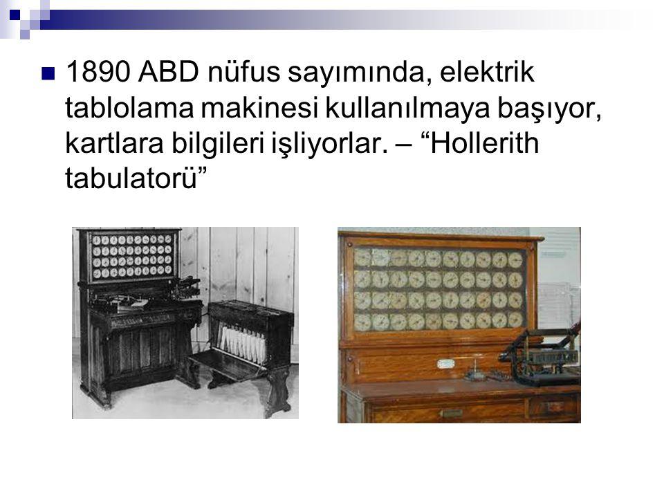 1890 ABD nüfus sayımında, elektrik tablolama makinesi kullanılmaya başıyor, kartlara bilgileri işliyorlar.