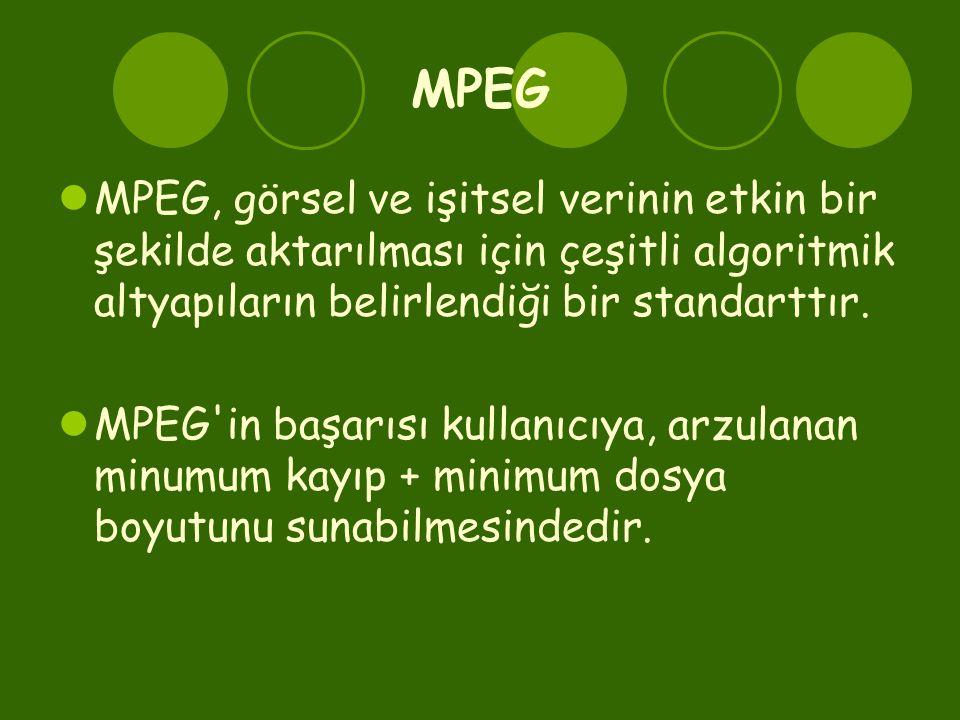 MPEG MPEG, görsel ve işitsel verinin etkin bir şekilde aktarılması için çeşitli algoritmik altyapıların belirlendiği bir standarttır.