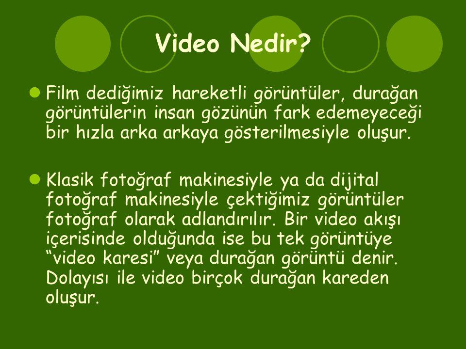 Video Nedir Film dediğimiz hareketli görüntüler, durağan görüntülerin insan gözünün fark edemeyeceği bir hızla arka arkaya gösterilmesiyle oluşur.