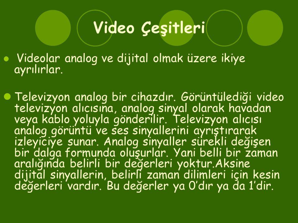 Video Çeşitleri Videolar analog ve dijital olmak üzere ikiye ayrılırlar.