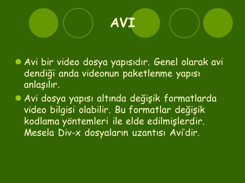 AVI Avi bir video dosya yapısıdır. Genel olarak avi dendiği anda videonun paketlenme yapısı anlaşılır.