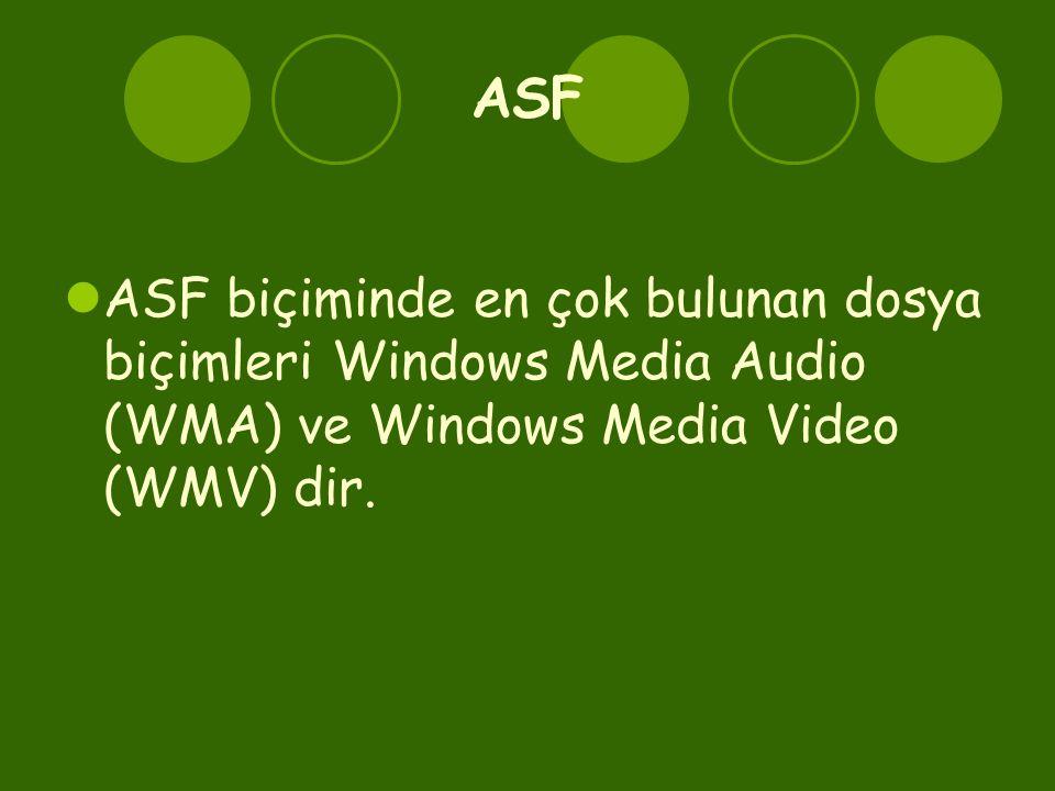 ASF ASF biçiminde en çok bulunan dosya biçimleri Windows Media Audio (WMA) ve Windows Media Video (WMV) dir.