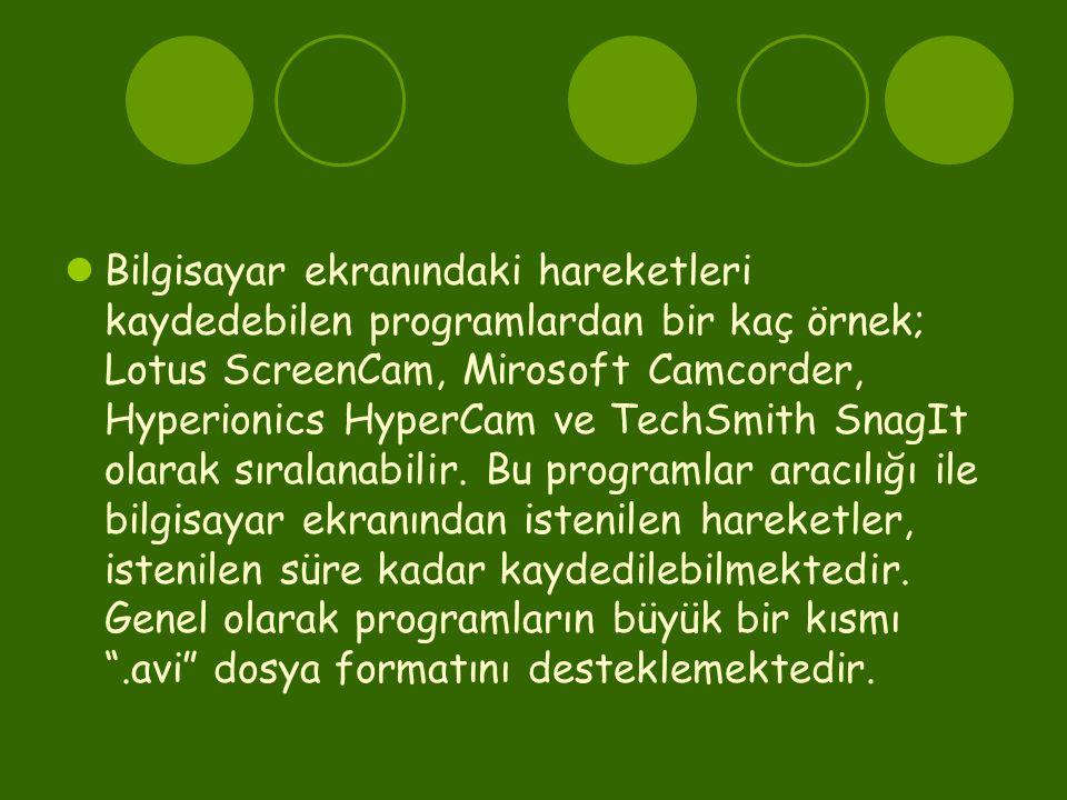 Bilgisayar ekranındaki hareketleri kaydedebilen programlardan bir kaç örnek; Lotus ScreenCam, Mirosoft Camcorder, Hyperionics HyperCam ve TechSmith SnagIt olarak sıralanabilir.