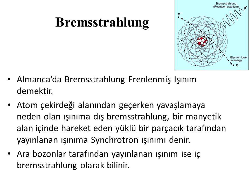 Bremsstrahlung Almanca'da Bremsstrahlung Frenlenmiş Işınım demektir.