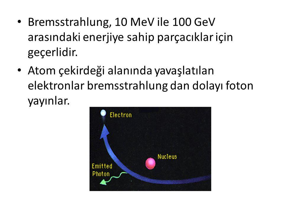Bremsstrahlung, 10 MeV ile 100 GeV arasındaki enerjiye sahip parçacıklar için geçerlidir.