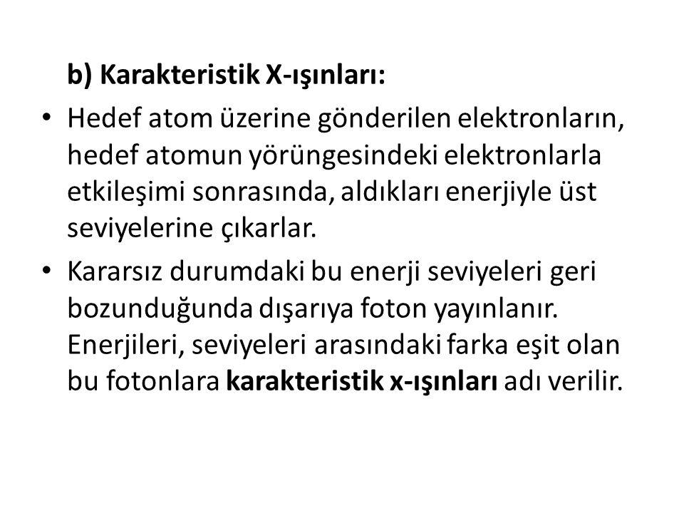 b) Karakteristik X-ışınları: