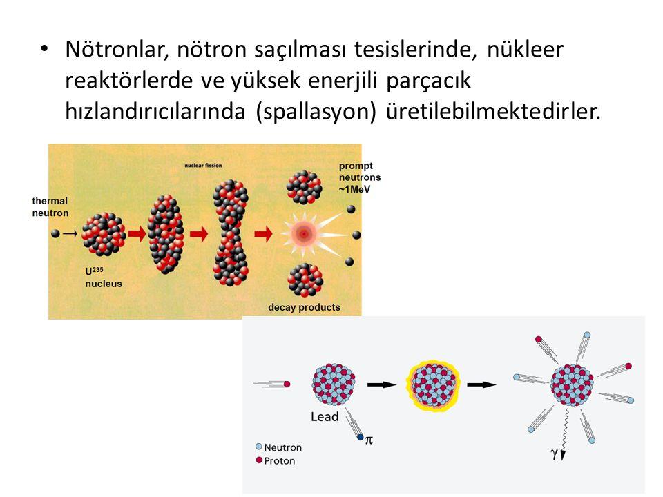 Nötronlar, nötron saçılması tesislerinde, nükleer reaktörlerde ve yüksek enerjili parçacık hızlandırıcılarında (spallasyon) üretilebilmektedirler.
