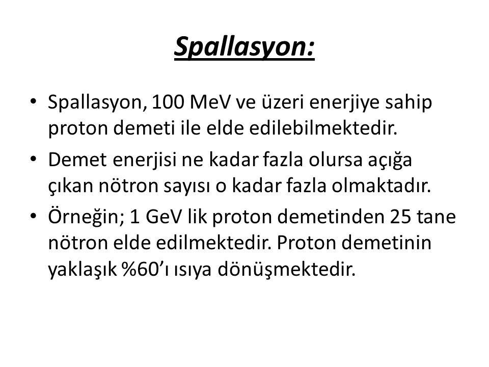 Spallasyon: Spallasyon, 100 MeV ve üzeri enerjiye sahip proton demeti ile elde edilebilmektedir.