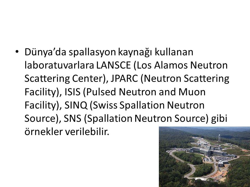 Dünya'da spallasyon kaynağı kullanan laboratuvarlara LANSCE (Los Alamos Neutron Scattering Center), JPARC (Neutron Scattering Facility), ISIS (Pulsed Neutron and Muon Facility), SINQ (Swiss Spallation Neutron Source), SNS (Spallation Neutron Source) gibi örnekler verilebilir.