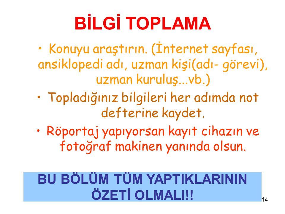 BU BÖLÜM TÜM YAPTIKLARININ ÖZETİ OLMALI!!