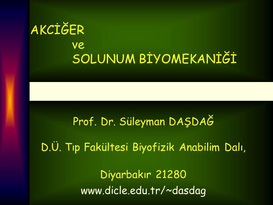 AKCİĞER ve SOLUNUM BİYOMEKANİĞİ Prof. Dr. Süleyman DAŞDAĞ