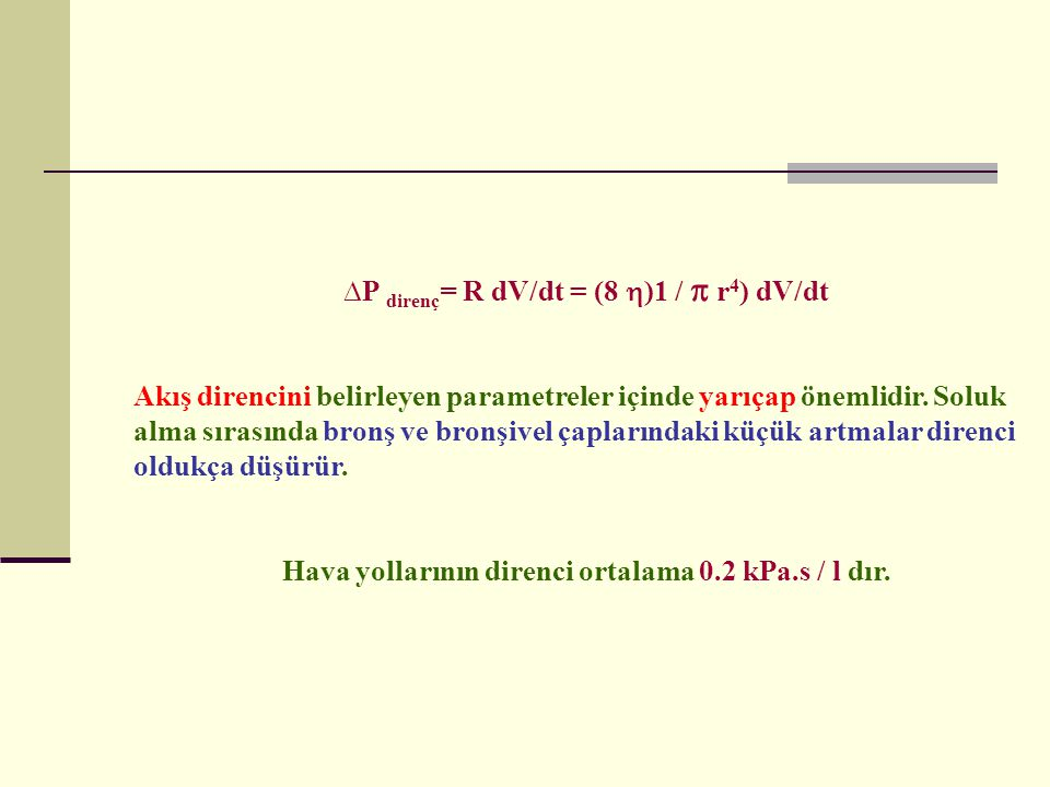∆P direnç= R dV/dt = (8 )1 /  r4) dV/dt