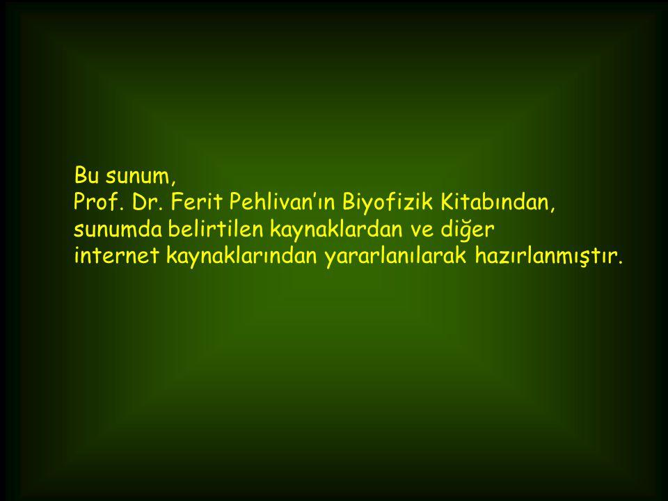 Bu sunum, Prof. Dr. Ferit Pehlivan'ın Biyofizik Kitabından, sunumda belirtilen kaynaklardan ve diğer.