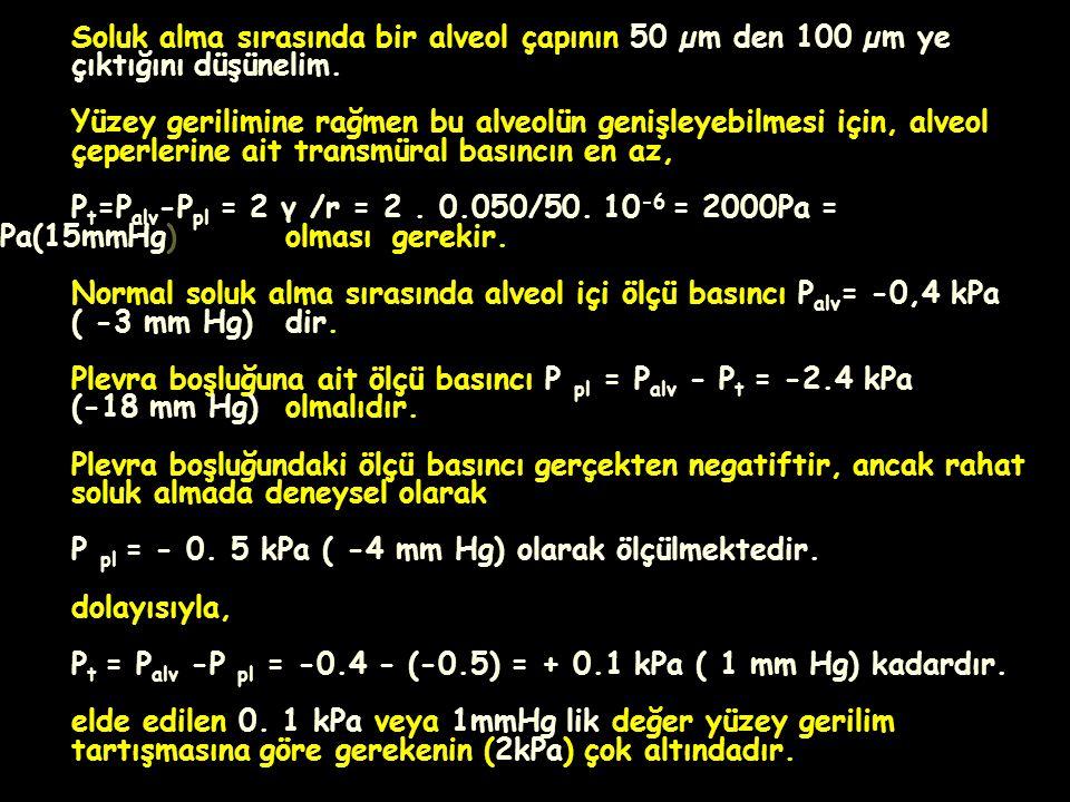 Normal soluk alma sırasında alveol içi ölçü basıncı Palv= -0,4 kPa