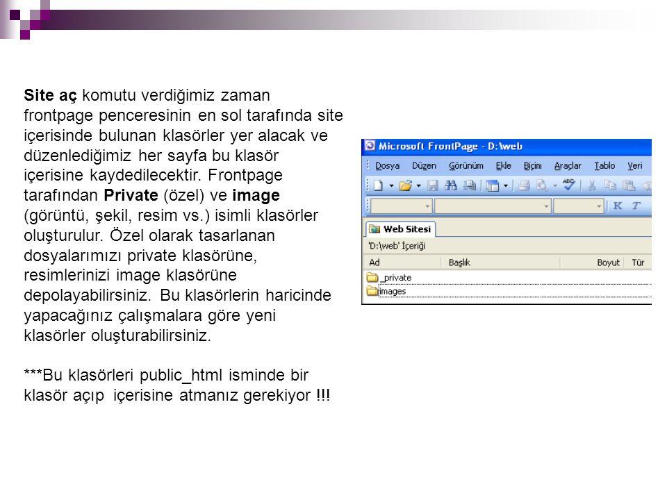 Site aç komutu verdiğimiz zaman frontpage penceresinin en sol tarafında site içerisinde bulunan klasörler yer alacak ve düzenlediğimiz her sayfa bu klasör içerisine kaydedilecektir. Frontpage tarafından Private (özel) ve image (görüntü, şekil, resim vs.) isimli klasörler oluşturulur. Özel olarak tasarlanan dosyalarımızı private klasörüne, resimlerinizi image klasörüne depolayabilirsiniz. Bu klasörlerin haricinde yapacağınız çalışmalara göre yeni klasörler oluşturabilirsiniz.