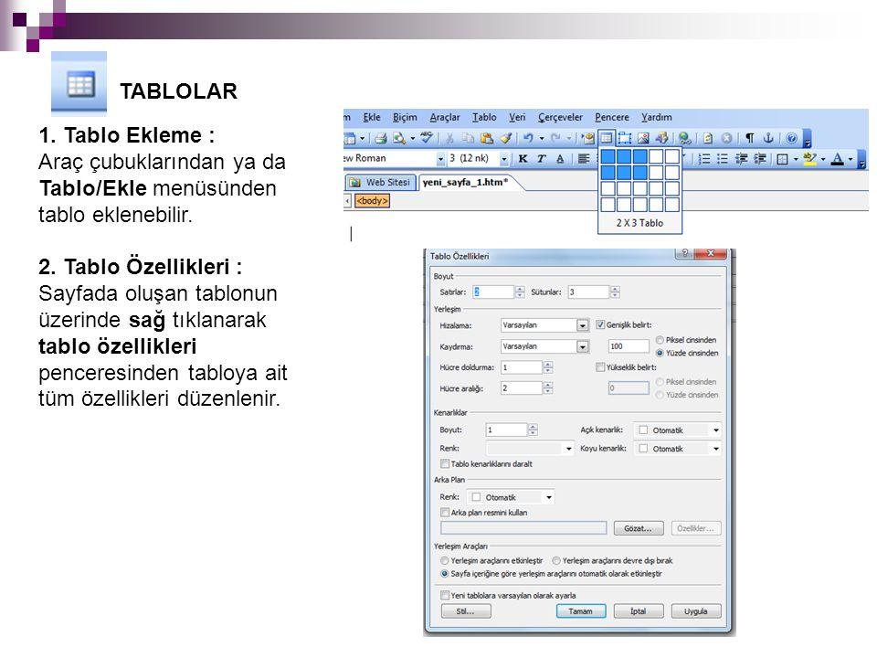TABLOLAR 1. Tablo Ekleme : Araç çubuklarından ya da Tablo/Ekle menüsünden tablo eklenebilir. 2. Tablo Özellikleri :